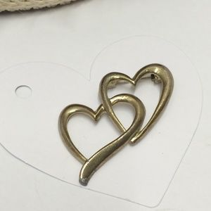 Vintage Double Heart Brooch